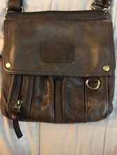 FOSSIL Vintage Brown Leather Satchel CrossBody Messenger Purse Bag Traveler Rare