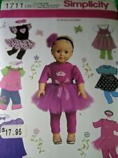 "Uncut Simplicity 1711 Doll Clothes Pattern for Size 18"" Girl Dolls"