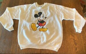 Vintage Mickey Mouse White Sweater L Classic Sweatshirt Disney Made In USA