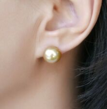 Natural Golden South Sea Cultured Pearl Stud Earrings 18k Yellow Gold 11.5-12mm