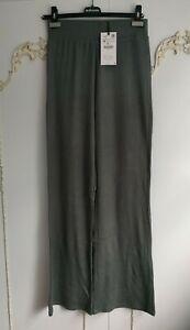 Zara Womens Teal Grey Knit Wide Leg Stretch Trousers  Size M BNWT