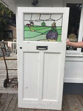 LARGE EDWARDIAN STAINED GLASS FRONT DOOR OLD PERIOD WOOD RECLAIMED ANTIQUE LEAD