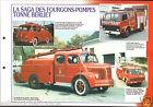 Fire engine Fourgons-Pompes Tonne Berliet GLB /FPT KB6 FICHE Pompier FIREFIGHTER