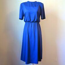 Lady Blair Short Sleeve Blouson Blue Secretary Dress Vintage 70s Women's Medium