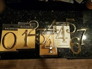 "Baldwin Bright Brass 5"" House Numbers, (10) ea."