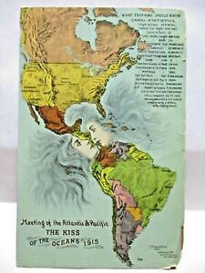 1913 POSTCARD THE KISS OF THE OCEANS 1915,PANAMA CANAL,MEETING OF ATLANTIC PACIF
