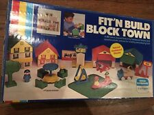VINTAGE 1984 FIT'N BUILD BLOCK TOWER Town W/BOX CHILD GUIDANCE Complete!