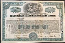 EUROPEAN ELECTRIC CORPORATION LIMITED Stock 1930. Canada. Beautiful Vignette. VF