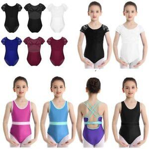 Girls Kids Ballet Leotard Dance Jumpsuit Gymnastics Bodysuit Workout Dancewear