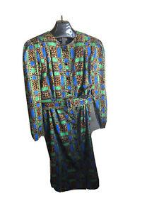 Fkvintage swirled silk 80s dress by Adriana Papel