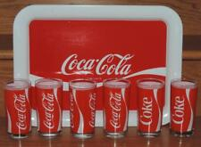 1984 COCA-COLA 7pc BEVERAGE GLASSES & SERVING TRAY SET w/BOX- INDIANA GLASS USA