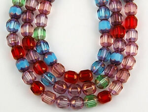 50pcs Mix Aqua Ruby Crystal Cathedral Faceted Window Loose Glass Craft Beads 5mm