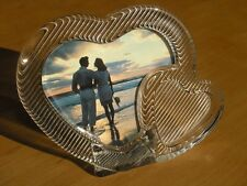 """Beautiful Mikasa Double Hearts Crystal Glass Double Picture Frame 6.25""""x4.75"""""""