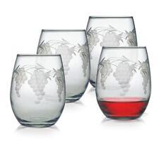 Stemless Wine Glasses Sonoma Grape Design Set of 4 Hand Etched