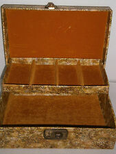 Vintage 2 Tier Jewelry Box Organizer Tan Green Vinyl Floral Gold Velvet 10X7X4