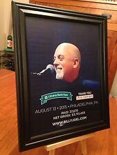 """BIG 10x13 FRAMED """"BILLY JOEL LIVE IN PHILADELPHIA 8/13/15"""" CONCERT TOUR PROMO AD"""
