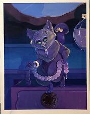 "ORIG CAT BURGLAR Bandit 8""X10"" OPAQUE WATERCOLOR Gouache PAINTING SIGNED FRAMED"