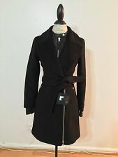 NWT Women's MACKAGE Livia Leather Trim Coat, X-Small, Black