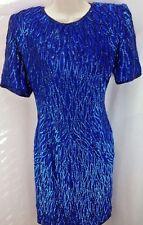 WOMENS STENAY SEQUIN SILK DRESS SIZE 8 BLUE SHORT SLEEVE