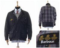 Mens BARBOUR INTERNATIONAL Waxed Wax Motorcycle Jacket Coat Black Size XL