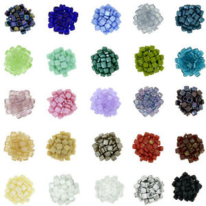Pack of 50 Czechmate 2 Hole Tile Beads - Choose Your Colour