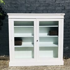 White Painted Glass Display Cabinet Storage Country Hall Bookcase