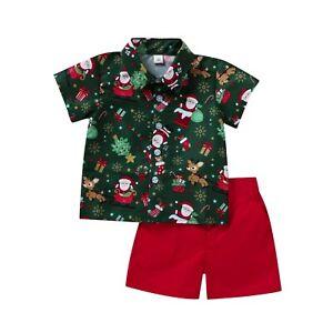 Kids Baby Boy Christmas Santa Claus T Shirt Top+Shorts Pants Outfit Clothes Sets