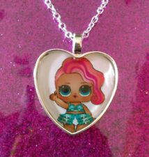 Silver Plated Heart Pendant Necklace LOL Doll Surprise Treasure