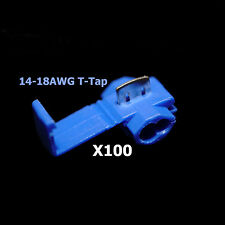 100x Blue 16-14 AWG Scotch Lock T Tap Car Audio Electronics Connectors Terminals