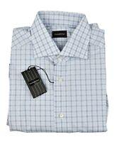 Ermenegildo Zegna Mens Check Plaid Blue White Rossini Cotton Dress Shirt 16