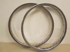 "2 NOS Old School BMX Sun Metal Products 20"" Chrome Bike Rims Heavy Guage Spokes"
