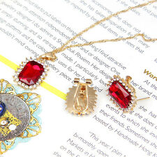 Fashion Style Red zircon Pendant Necklace Earrings Set  Fashion Jewelry Sets