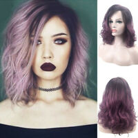 Women Ombre Purple Wig Curly Wig Wave Synthetic Hair Cosplay Party Wigs Costume