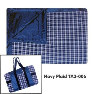 Picnic Blanket Rug Water Resistant Navy Plaid TUFFO