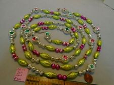 "Christmas Garland Mercury Glass Mixed 95"" Long, Large 1"" Long Beads Eb36 Vintage"