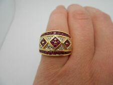 Gorgeous Large & Wide 14k Solid Gold Natural Ruby & Diamond Cocktail Ring Size 7