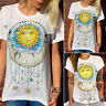 Womens Short Sleeve T Shirt Graphic Boho Hippie Tee Summer Blouse Loose Top
