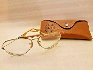 Vintage B&L Ray Ban USA  OUTDOORSMAN EYEGLASSES  Gold Frame 62-14 WITE CASE