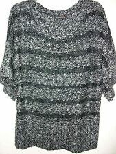 Sweater, Short Sleeve Black & Gray -Color Top by BCBG- L/G