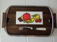 Vtg MCM Wooden Cheese Cutting Board Tray Fruit Decor Farmhouse Picnic Outdoor