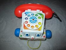 Vintage 1961 Fisher-Price Chatter Telephone #747 pull toy, wood & plastic