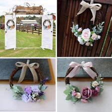 4pcs Vintage Rattan Silk Flower Door Wreath Ring Hanging Wedding Decorations