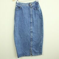 "Vintage 90s Limited Denim Pencil Skirt Straight midi Zipper Slit 27"" Waist M"