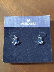 Swarovski Louison Stud Pierced Earrings (CZ Sapphire Blue Dark) NWT $89