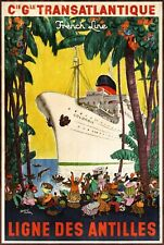 French Line Sailing Transatlantic Cruise Advert Retro Style Metal Plaque Sign