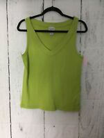 Chico's Women's Popover Sleeveless Top Green V-Neck Size 2 (Large) 100% Cotton