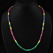 BEAUTIFUL 99.20 CTS NATURAL RUBY, EMERALD & SAPPHIRE FACETED BEADS NECKLACE