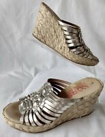 MICHAEL KORS Wedge Espadrille Sandals Weave Slides Silver Leather~Size 6