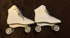 1960's Street King White Roller Derby Outdoor Roller Skates Metal Wheels Size 4