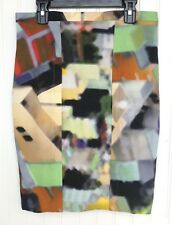 YIGAL AZROUEL Multicolor Cotton Blend Watercolor Woven Pencil Skirt Lined Size 6